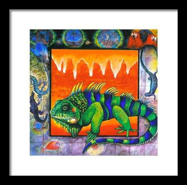 Iguana Framed Print featuring the painting Iguana by Christine McGinnis