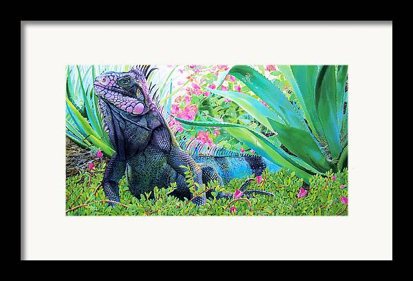 Lizard Framed Print Featuring The Painting Iguana By Denny Bond