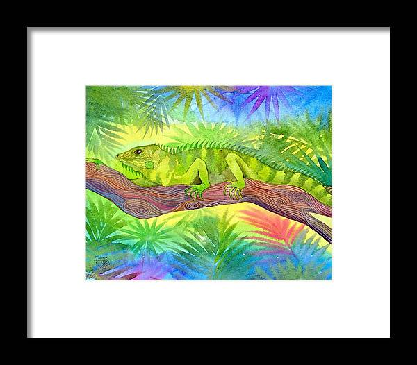 Iguana Rain Forest Jungle Tropical Wild Life Nature Framed Print featuring the painting Iguana by Jennifer Baird
