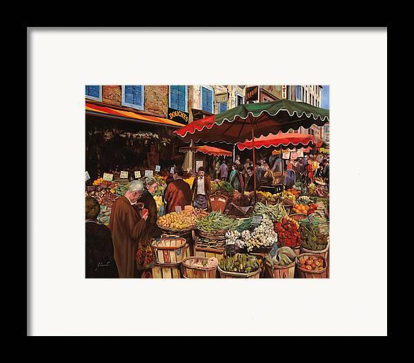 Market Framed Print featuring the painting Il Mercato Di Quartiere by Guido Borelli