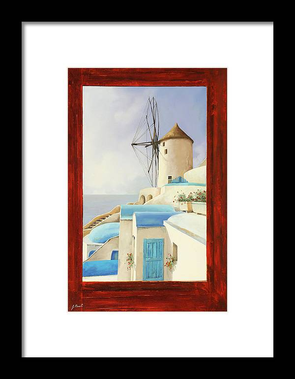 Windmill Framed Print featuring the painting Il Mulino Oltre La Finestra by Guido Borelli