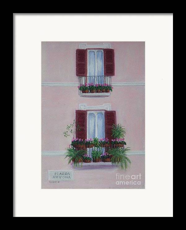 Window Boxes Framed Print featuring the painting Il Terrazo In Roma Piazza Navona by Mary Erbert