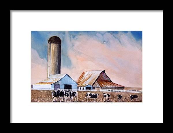 Barns; Cows ;silo Framed Print featuring the painting Illinois Farm by John Gabb