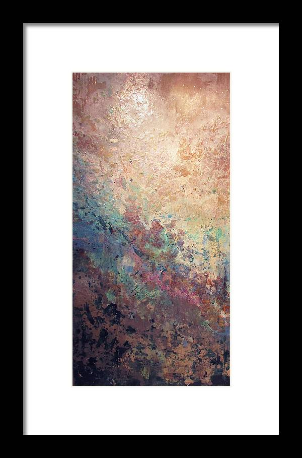 Mica Framed Print featuring the painting Illuminated Valley I Diptych by Shadia Derbyshire