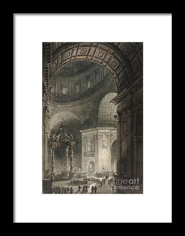 Italy Framed Print featuring the drawing Illumination Of The Cross In St. Peter's On Good Friday, 1787 by Giovanni Battista Piranesi
