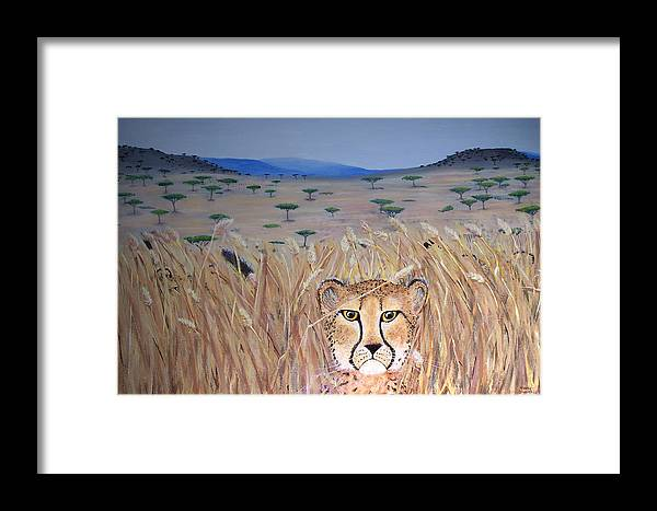 Cheetah Framed Print featuring the painting Illusion 01 by Tammy Dunn