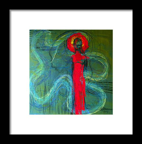 Abstract Framed Print featuring the painting Illusion by Erika Brown