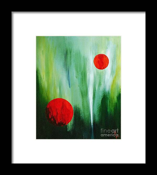 Abstract By Herschel Fall Red And Green Framed Print featuring the painting Illusion Of Light by Herschel Fall