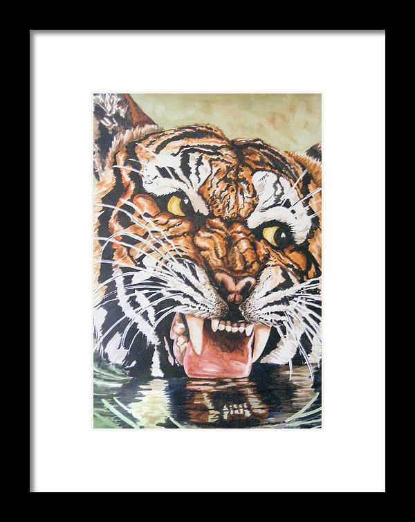 Tiger Framed Print featuring the painting Im Drinking Here by Donald Dean