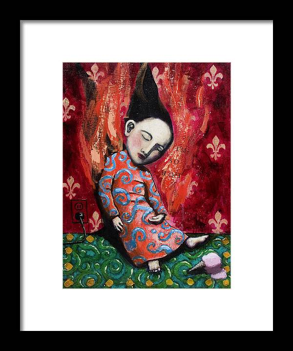 Funny Framed Print featuring the painting I'm So Hot by Pauline Lim