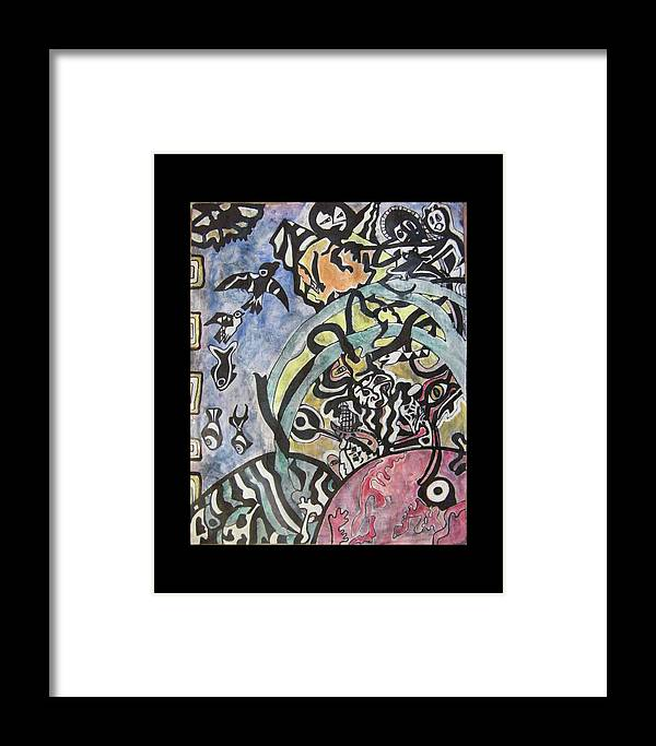 Psychology Framed Print featuring the painting Images From The Collective Unconscious by Mimulux patricia No