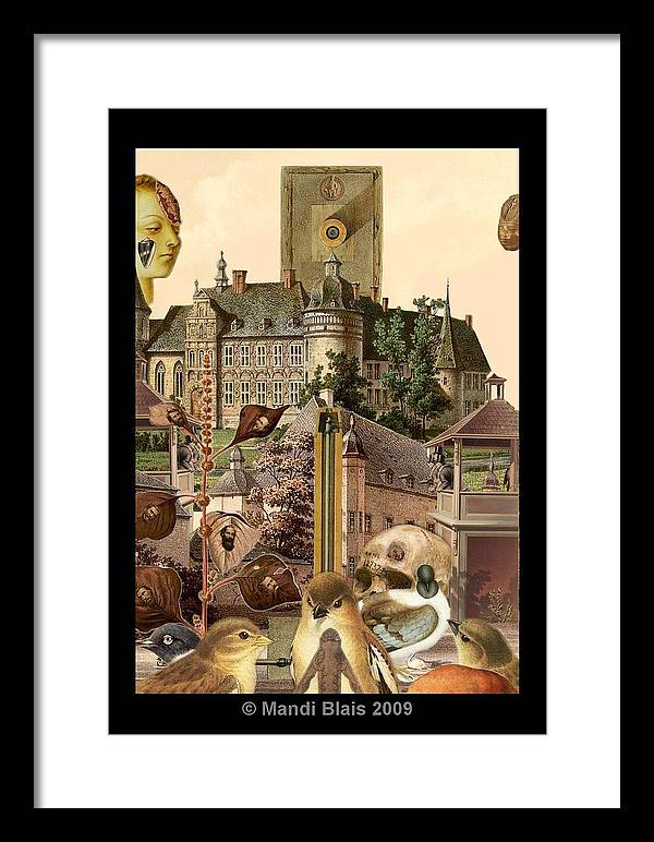 Digital Art Framed Print featuring the digital art Imaginary Postcard 3 by Mandi Blais