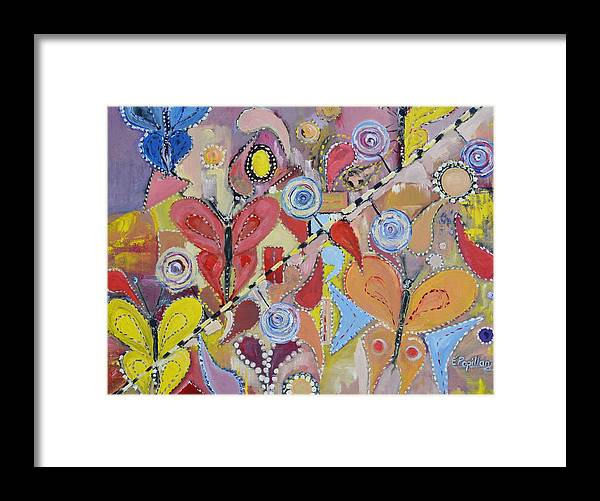 Butterflies Framed Print featuring the painting Imagination Land by Evelina Popilian