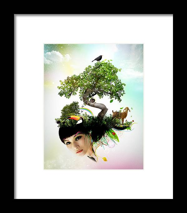 Women Framed Print featuring the digital art Imagine Your World by Pedro Ferreira