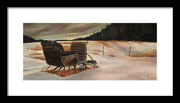 Old Sleigh Framed Print featuring the painting Imaginery Sleigh ride by Keith Gantos