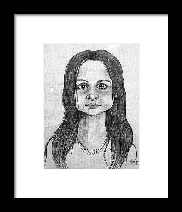 Portrait Framed Print featuring the drawing Immigrant Girl by Marco Morales