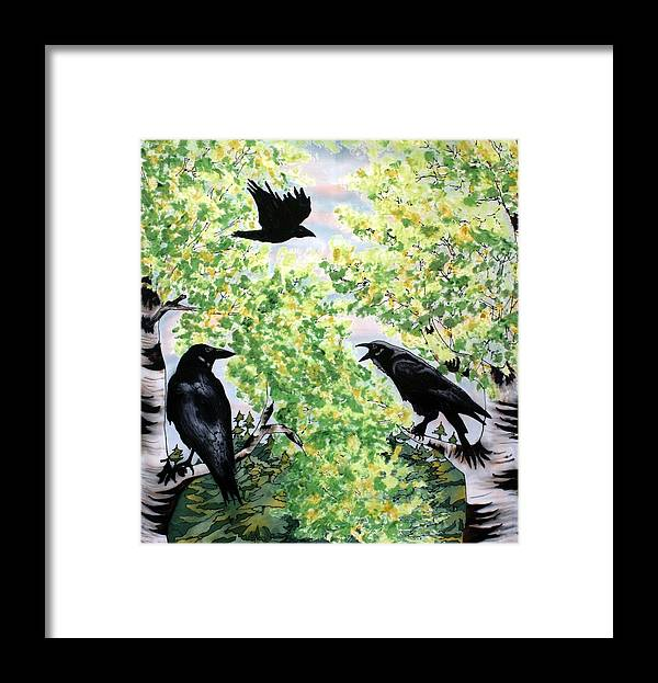 Ravens Framed Print featuring the painting Imparting Wisdom by Linda Marcille