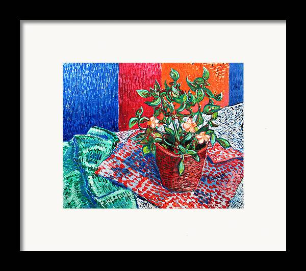 Still Life Framed Print featuring the painting Impatiens by Rollin Kocsis