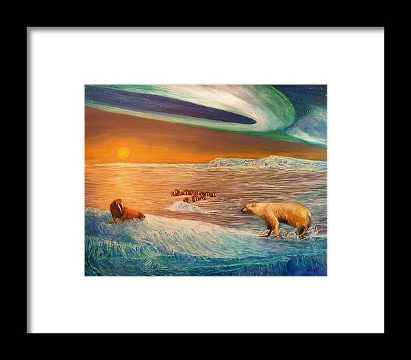 Walrus Framed Print featuring the painting Impending Threat by Dianne Roberson