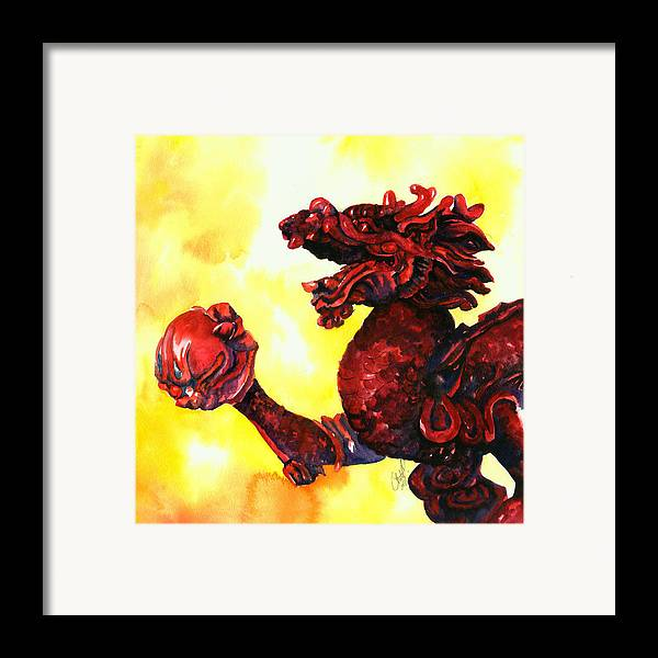 Asian Art Framed Print featuring the painting Imperial Dragon by Christy Freeman