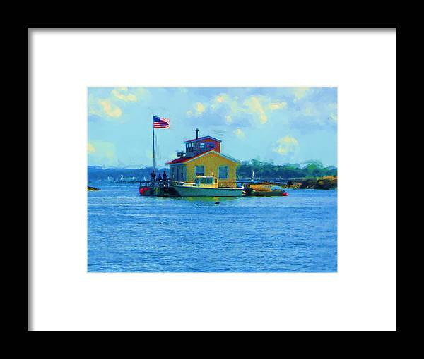 Framed Print featuring the painting Impossible House Boat - New York by Jonathan Galente