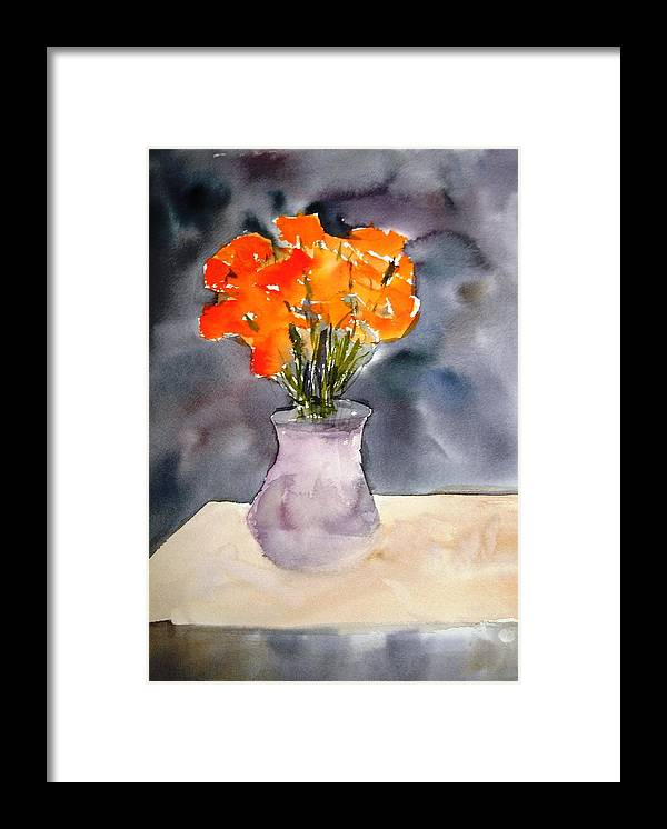 Watercolor Paintings Framed Print featuring the painting Impression Of Flowers by Larry Hamilton