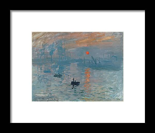 Impression Framed Print featuring the painting Impression Sunrise by Claude Monet