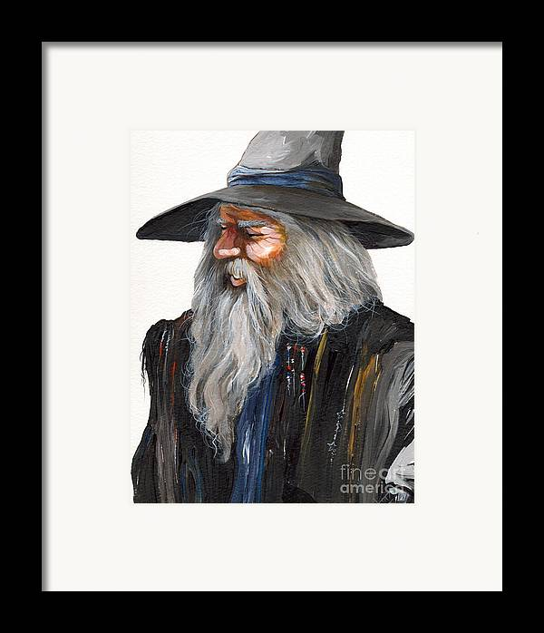 Fantasy Art Framed Print featuring the painting Impressionist Wizard by J W Baker
