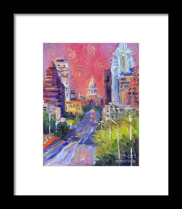 Impressionistic Austin City Framed Print featuring the painting Impressionistic Downtown Austin City Painting by Svetlana Novikova