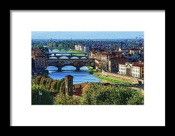 Georgia Mizuleva Framed Print featuring the digital art Impressions Of Florence - Long Blue Shadows On The Arno River by Georgia Mizuleva