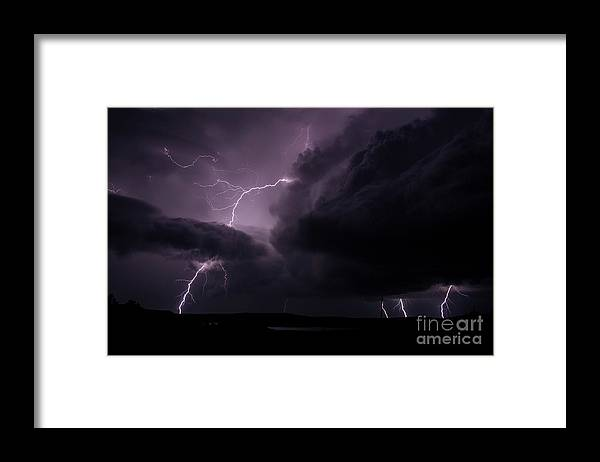 Lightning Framed Print featuring the photograph Impressive Lightning by Francis Lavigne-Theriault