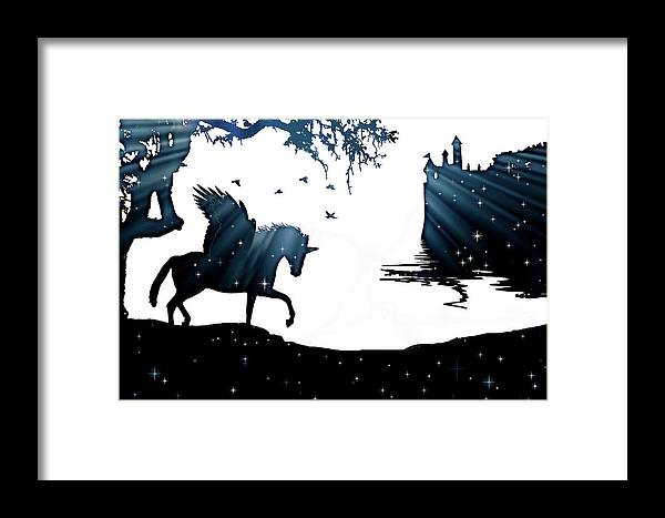 Horse Framed Print featuring the photograph In A Dream, Unicorn, Pegasus And Castle Modern Minimalist Style by Stephanie Laird