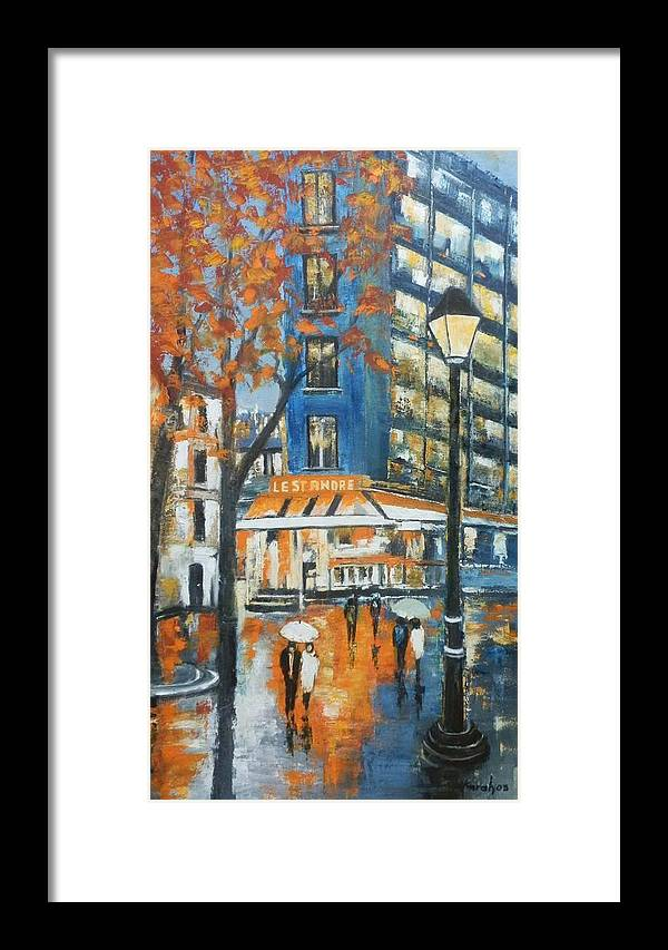 Cityscape Framed Print featuring the painting In A Night by Maria Karalyos