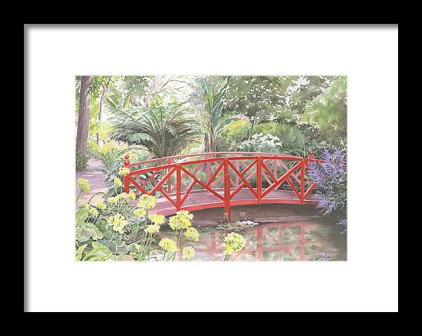 Landscape Framed Print featuring the painting In Abbotsbury Subtropical Gardens. by Maureen Carter