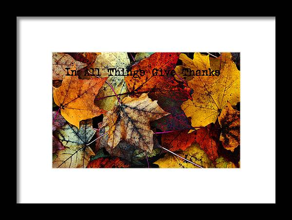 Fall Colors Framed Print featuring the photograph In All Things Give Thanks by Joanne Coyle