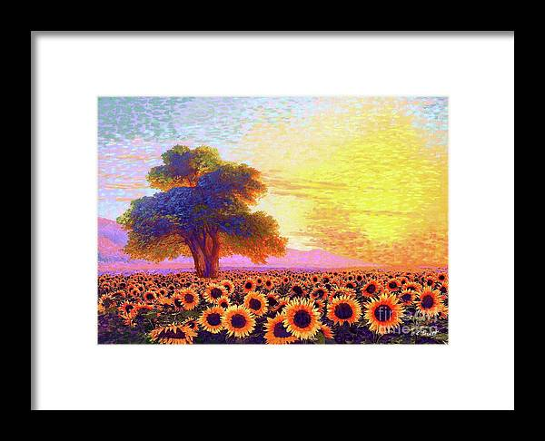 Field Framed Print featuring the painting In Awe Of Sunflowers, Sunset Fields by Jane Small