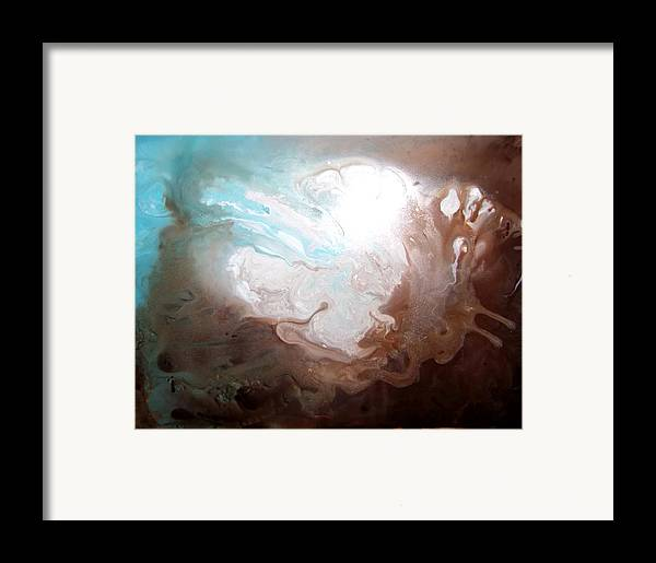 Acrylic Abstract Yupo Blue Brown White Insect Framed Print featuring the painting In Flight by Linda Powell