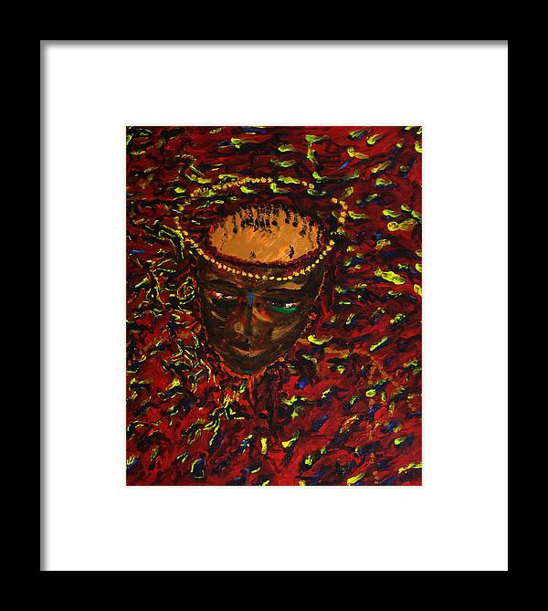 Jesus Framed Print featuring the painting In Gethsemane by Gloria Ssali