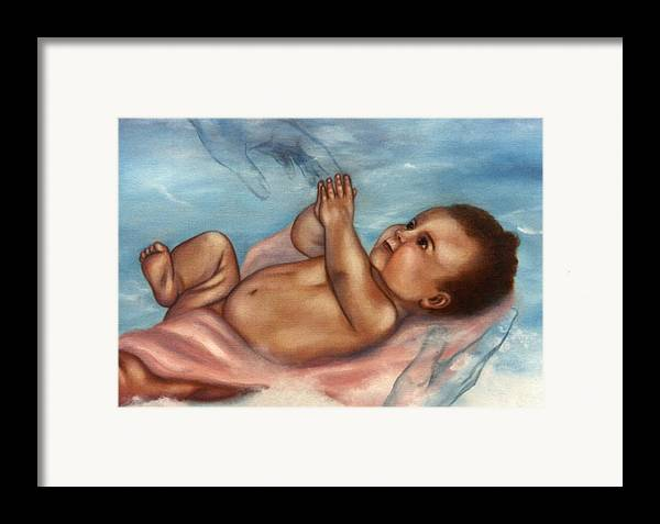 Portrait Framed Print featuring the painting In Gods Hands by Joni McPherson