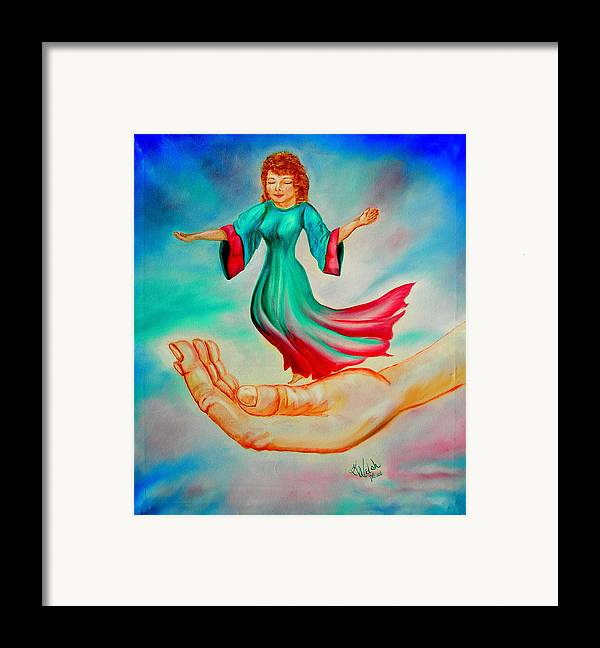 Fantasy Framed Print featuring the painting In His Hand by Kathern Welsh