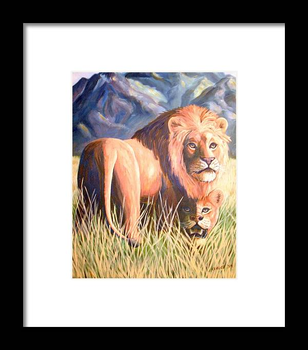 Lions Framed Print featuring the painting In Lions Time by George I Perez
