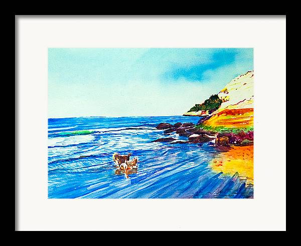 Seascape Framed Print featuring the painting In Paradise Of Dogs by Aymeric NOA
