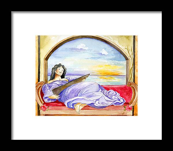 Landscape Woman Romantic Figure Window Sea Sky Framed Print featuring the painting In Paradisum by Brenda Owen