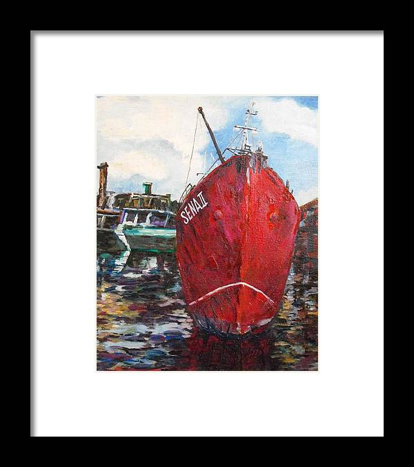 Water Framed Print featuring the painting In Port Frame 2 by Min Wang