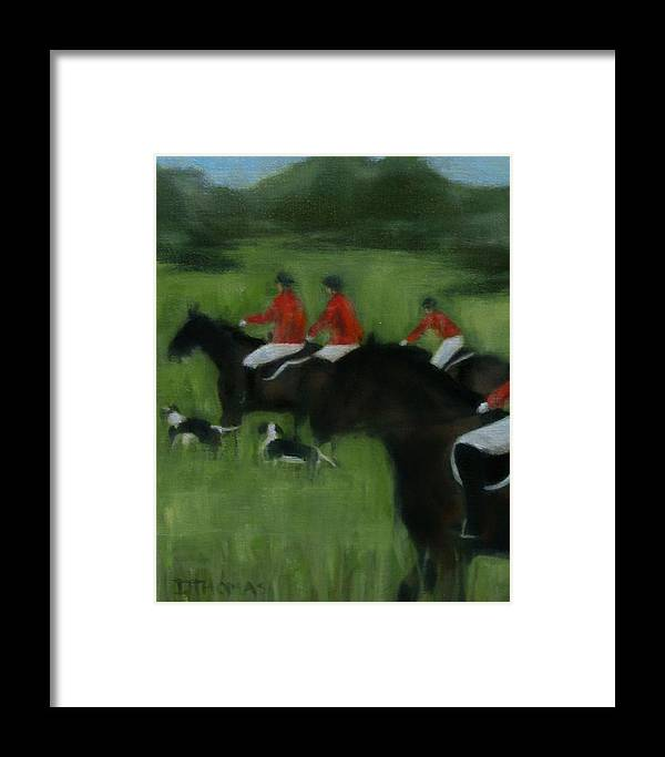 Horse Framed Print featuring the painting In Pursuit by Donna Thomas