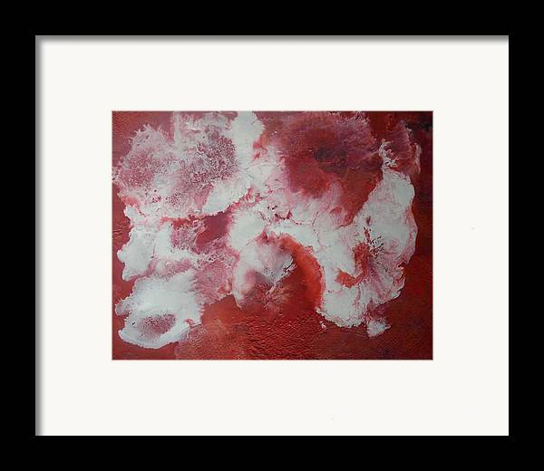 Abstract Encaustic Framed Print featuring the painting In Red by Heather Hennick