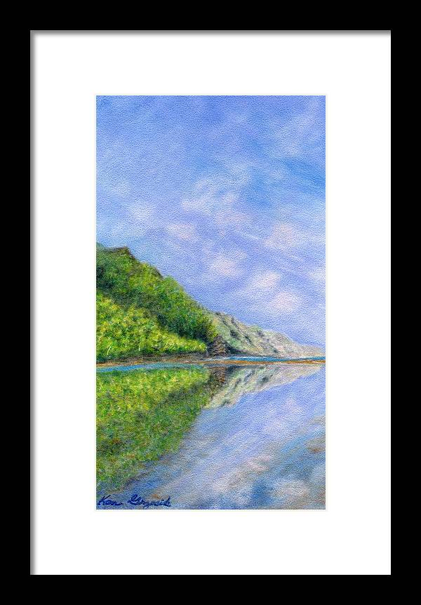 Rainbow Colors Pastel Framed Print featuring the painting In Reflection by Kenneth Grzesik