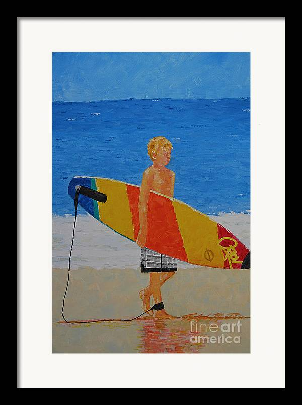 Beach Art Framed Print featuring the painting In Search Of A Ride by Art Mantia