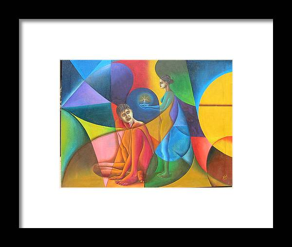 Man Framed Print featuring the painting In Search Of Life by Mak Art