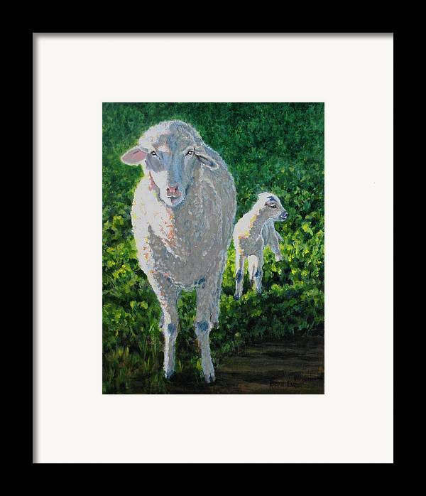 Sheep Framed Print featuring the painting In Sheep's Clothing by Karen Ilari